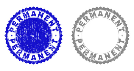 Grunge PERMANENT stamp seals isolated on a white background. Rosette seals with grunge texture in blue and gray colors. Vector rubber stamp imprint of PERMANENT text inside round rosette.