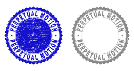 Grunge PERPETUAL MOTION stamp seals isolated on a white background. Rosette seals with grunge texture in blue and grey colors. Vector rubber watermark of PERPETUAL MOTION caption inside round rosette.