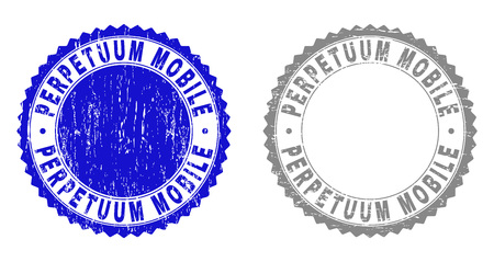 Grunge PERPETUUM MOBILE stamp seals isolated on a white background. Rosette seals with distress texture in blue and grey colors.
