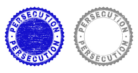 Grunge PERSECUTION stamp seals isolated on a white background. Rosette seals with grunge texture in blue and grey colors. Vector rubber stamp imitation of PERSECUTION text inside round rosette.