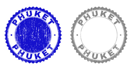 Grunge PHUKET stamp seals isolated on a white background. Rosette seals with grunge texture in blue and gray colors. Vector rubber stamp imitation of PHUKET tag inside round rosette. Иллюстрация