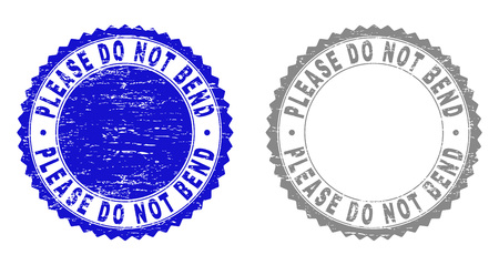 Grunge PLEASE DO NOT BEND stamp seals isolated on a white background. Rosette seals with distress texture in blue and gray colors.