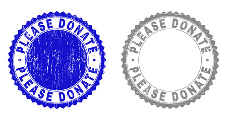 Grunge PLEASE DONATE watermarks isolated on a white background. Rosette seals with grunge texture in blue and gray colors. Vector rubber stamp imprint of PLEASE DONATE caption inside round rosette.