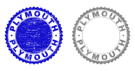Grunge PLYMOUTH stamp seals isolated on a white background. Rosette seals with grunge texture in blue and gray colors. Vector rubber watermark of PLYMOUTH title inside round rosette.
