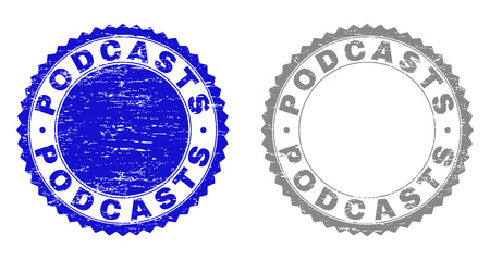 Grunge PODCASTS watermarks isolated on a white background. Rosette seals with grunge texture in blue and gray colors. Vector rubber stamp imitation of PODCASTS caption inside round rosette.