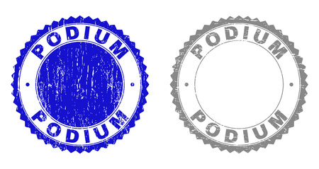 Grunge PODIUM stamp seals isolated on a white background. Rosette seals with grunge texture in blue and grey colors. Vector rubber stamp imprint of PODIUM title inside round rosette.