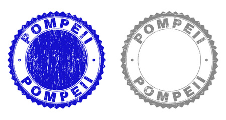 Grunge POMPEII stamp seals isolated on a white background. Rosette seals with grunge texture in blue and grey colors. Vector rubber stamp imprint of POMPEII caption inside round rosette. Vettoriali