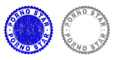 Grunge PORNO STAR stamp seals isolated on a white background. Rosette seals with grunge texture in blue and grey colors. Vector rubber stamp imprint of PORNO STAR text inside round rosette.
