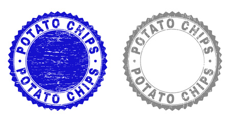 Grunge POTATO CHIPS stamp seals isolated on a white background. Rosette seals with grunge texture in blue and grey colors. Vector rubber stamp imprint of POTATO CHIPS tag inside round rosette.