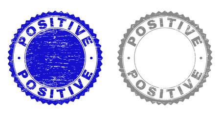 Grunge POSITIVE watermarks isolated on a white background. Rosette seals with grunge texture in blue and gray colors. Vector rubber stamp imitation of POSITIVE text inside round rosette.
