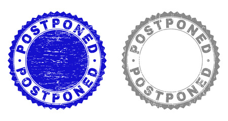 Grunge POSTPONED stamp seals isolated on a white background. Rosette seals with grunge texture in blue and gray colors. Vector rubber stamp imprint of POSTPONED label inside round rosette.  イラスト・ベクター素材