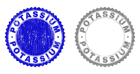 Grunge POTASSIUM stamp seals isolated on a white background. Rosette seals with grunge texture in blue and grey colors. Vector rubber overlay of POTASSIUM caption inside round rosette.