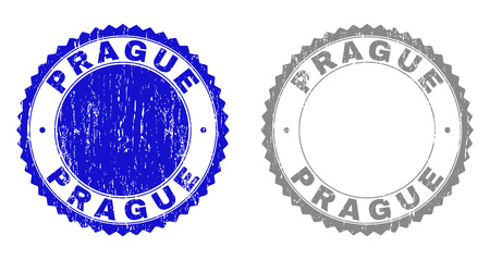Grunge PRAGUE stamp seals isolated on a white background. Rosette seals with distress texture in blue and grey colors. Vector rubber stamp imprint of PRAGUE label inside round rosette.