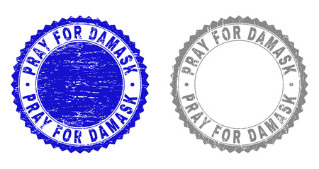 Grunge PRAY FOR DAMASK stamp seals isolated on a white background. Rosette seals with grunge texture in blue and grey colors. Illustration