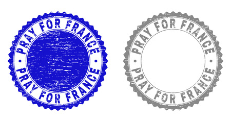 Grunge PRAY FOR FRANCE stamp seals isolated on a white background. Rosette seals with grunge texture in blue and grey colors.
