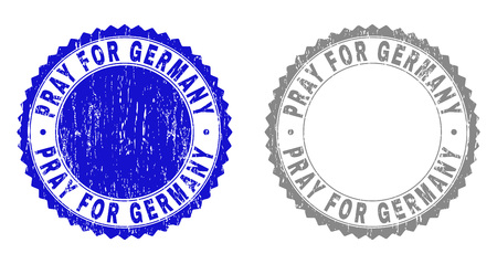 Grunge PRAY FOR GERMANY stamp seals isolated on a white background. Rosette seals with grunge texture in blue and gray colors. Illustration