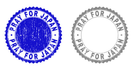 Grunge PRAY FOR JAPAN stamp seals isolated on a white background. Rosette seals with distress texture in blue and gray colors.