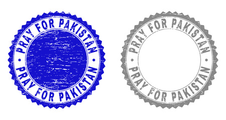 Grunge PRAY FOR PAKISTAN stamp seals isolated on a white background. Rosette seals with grunge texture in blue and gray colors.