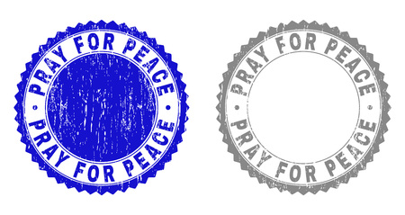 Grunge PRAY FOR PEACE stamp seals isolated on a white background. Rosette seals with grunge texture in blue and gray colors. Vector rubber stamp imitation of PRAY FOR PEACE label inside round rosette. Illustration