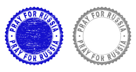 Grunge PRAY FOR RUSSIA stamp seals isolated on a white background. Rosette seals with grunge texture in blue and grey colors. Vector rubber watermark of PRAY FOR RUSSIA label inside round rosette. Ilustrace