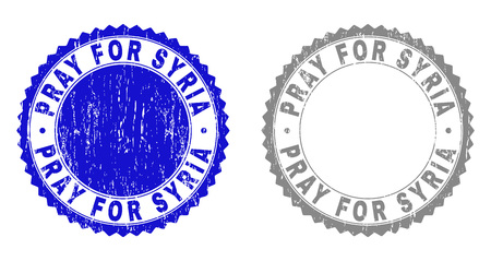 Grunge PRAY FOR SYRIA stamp seals isolated on a white background. Rosette seals with distress texture in blue and grey colors.
