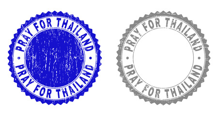 Grunge PRAY FOR THAILAND stamp seals isolated on a white background. Rosette seals with grunge texture in blue and grey colors. Illustration