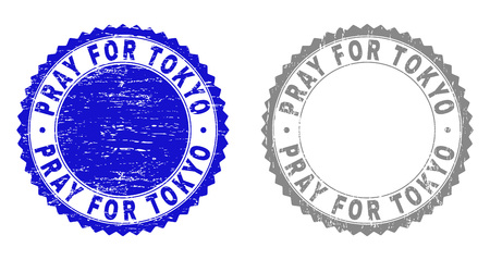 Grunge PRAY FOR TOKYO stamp seals isolated on a white background. Rosette seals with distress texture in blue and grey colors. Vector rubber stamp imprint of PRAY FOR TOKYO label inside round rosette.