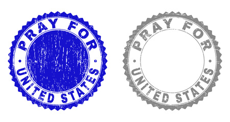 Grunge PRAY FOR UNITED STATES stamp seals isolated on a white background. Rosette seals with distress texture in blue and grey colors.