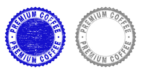 Grunge PREMIUM COFFEE stamp seals isolated on a white background. Rosette seals with distress texture in blue and grey colors.