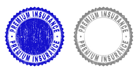 Grunge PREMIUM INSURANCE stamp seals isolated on a white background. Rosette seals with grunge texture in blue and grey colors. Vector rubber watermark of PREMIUM INSURANCE tag inside round rosette.