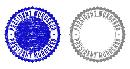 Grunge PRESIDENT MURDERED stamp seals isolated on a white background. Rosette seals with grunge texture in blue and gray colors.