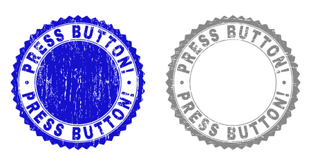 Grunge PRESS BUTTON! stamp seals isolated on a white background. Rosette seals with grunge texture in blue and gray colors. Vector rubber stamp imprint of PRESS BUTTON! text inside round rosette. Illusztráció