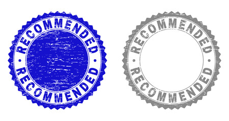 Grunge RECOMMENDED stamp seals isolated on a white background. Rosette seals with distress texture in blue and gray colors. Vector rubber stamp imprint of RECOMMENDED caption inside round rosette.