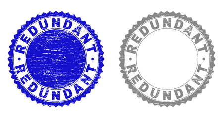 Grunge REDUNDANT stamp seals isolated on a white background. Rosette seals with grunge texture in blue and grey colors. Vector rubber stamp imprint of REDUNDANT label inside round rosette.