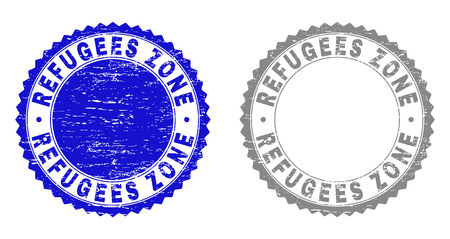 Grunge REFUGEES ZONE stamp seals isolated on a white background. Rosette seals with grunge texture in blue and gray colors. Vector rubber watermark of REFUGEES ZONE title inside round rosette.