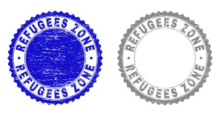 Grunge REFUGIES ZONE stamp seals isolés sur fond blanc. Joints de rosette avec texture grunge dans des couleurs bleues et grises. Filigrane en caoutchouc vectoriel du titre REFUGEES ZONE à l'intérieur de la rosette ronde. Vecteurs