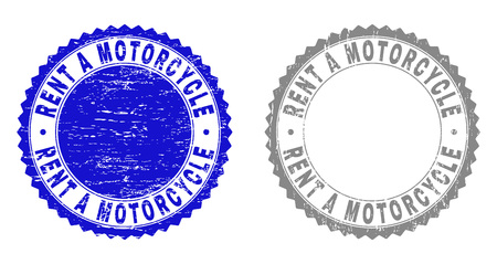 Grunge RENT A MOTORCYCLE stamp seals isolated on a white background. Rosette seals with grunge texture in blue and gray colors.