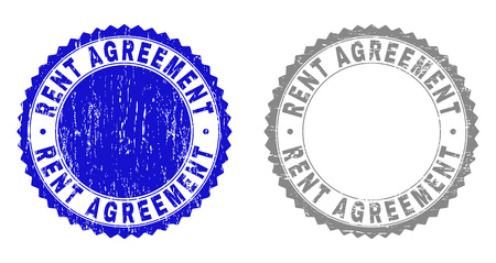 Grunge RENT AGREEMENT stamp seals isolated on a white background. Rosette seals with grunge texture in blue and gray colors. Vector rubber stamp imprint of RENT AGREEMENT title inside round rosette.