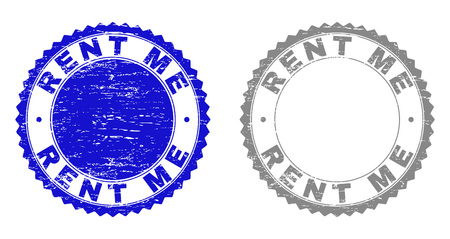 Grunge RENT ME stamp seals isolated on a white background. Rosette seals with grunge texture in blue and gray colors. Vector rubber stamp imprint of RENT ME title inside round rosette.