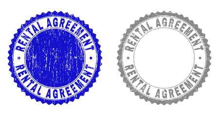 Grunge RENTAL AGREEMENT stamp seals isolated on a white background. Rosette seals with grunge texture in blue and grey colors. Vector rubber overlay of RENTAL AGREEMENT tag inside round rosette.
