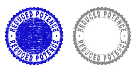 Grunge REDUCED POTENCE stamp seals isolated on a white background. Rosette seals with grunge texture in blue and gray colors. Vector rubber overlay of REDUCED POTENCE text inside round rosette.