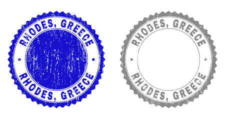 Grunge RHODES, GREECE stamp seals isolated on a white background. Rosette seals with grunge texture in blue and grey colors. Vector rubber watermark of RHODES, GREECE tag inside round rosette.