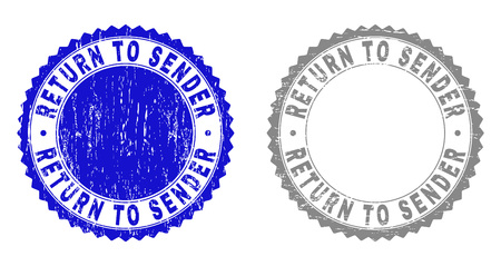 Grunge RETURN TO SENDER stamp seals isolated on a white background. Rosette seals with grunge texture in blue and grey colors. Vector rubber overlay of RETURN TO SENDER title inside round rosette.