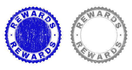 Grunge REWARDS stamp seals isolated on a white background. Rosette seals with grunge texture in blue and grey colors. Vector rubber stamp imitation of REWARDS title inside round rosette.