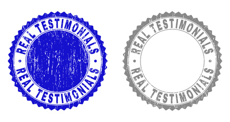 Grunge REAL TESTIMONIALS stamp seals isolated on a white background. Rosette seals with grunge texture in blue and gray colors.