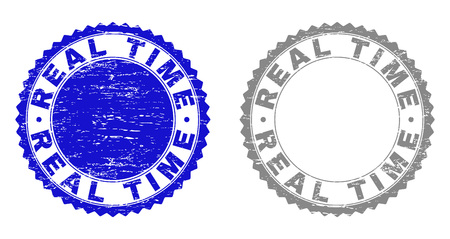 Grunge REAL TIME stamp seals isolated on a white background. Rosette seals with grunge texture in blue and grey colors. Vector rubber watermark of REAL TIME title inside round rosette.