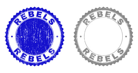Grunge REBELS stamp seals isolated on a white background. Rosette seals with grunge texture in blue and gray colors. Vector rubber watermark of REBELS title inside round rosette.