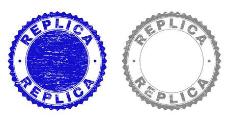 Grunge REPLICA stamp seals isolated on a white background. Rosette seals with grunge texture in blue and gray colors. Vector rubber stamp imitation of REPLICA tag inside round rosette.