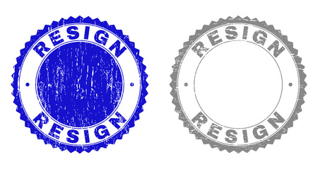 Grunge RESIGN stamp seals isolated on a white background. Rosette seals with distress texture in blue and gray colors. Vector rubber stamp imitation of RESIGN title inside round rosette.
