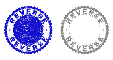 Grunge REVERSE stamp seals isolated on a white background. Rosette seals with grunge texture in blue and gray colors. Vector rubber stamp imprint of REVERSE caption inside round rosette.